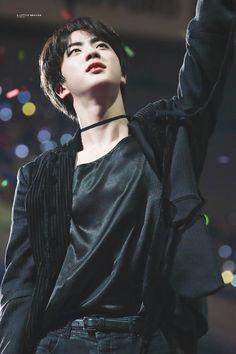 Kim Seokjin, Jin, male, man in choker, black choker, velvet, award show 2018, black aesthetic,