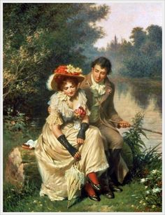 The Flirtatious Fisherman ~ Edwin Thomas Roberts (British Romantic Paintings, Classic Paintings, Beautiful Paintings, Victorian Paintings, Victorian Art, Art Ancien, Art Of Love, Historical Art, Couple Art