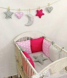 Baby Nestchen Bettumrandung 210 cm Design2 Bettnestchen Kantenschutz Kopfschutz für Babybett Bettausstattung