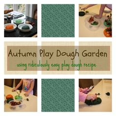 Autumn Play Dough Garden - using ridiculously easy play dough recipe #kids #kidsactivities #playdo #creative #montessori #nature #fall #halloween #fallcrafts #animals #imagination