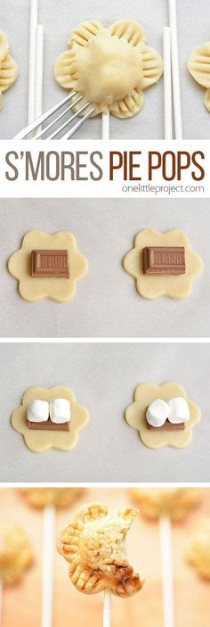 These flower shaped s'more pie pops are an ADORABLE summer dessert idea and they taste sooooo good! What a fun and delicious little treat to make with the kids! desserts ideas for kids Flower Shaped S'more Pie Pops Recipe Easy Summer Desserts, Summer Dessert Recipes, Just Desserts, Delicious Desserts, Yummy Food, Delicious Cookies, Summer Treats, Bbq Desserts, Creative Desserts