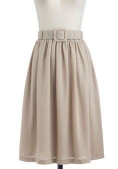 Every Day's an Expedition Skirt - Long, Tan, Solid, Belted, A-line, Work, Minimal