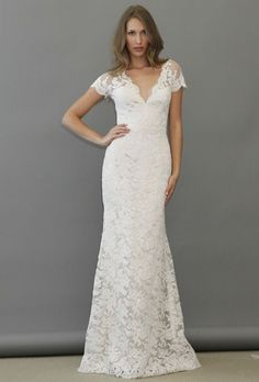 Brides.com: . Lace sheath wedding dress with a v-neckline and short sleeves, Jim Hjelm  See more Jim Hjelm wedding dresses in our gallery.