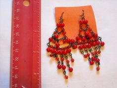 Red and Dark Orange Beaded Pierced Earrings ~~ for sale at Wenzel Thrifty Nickel eCrater store