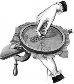 FIG. 844. POSITION OF THE HANDS IN TAMBOURING.