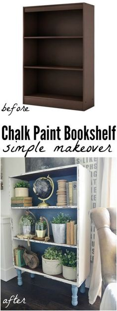 Chalk Paint Bookshelf Makeover bookshelf makeover - By adding legs painting with a little chalk paint it completely changes a cheap little bookshelf into a show stopper piece of furniture! Chalk Paint Projects, Chalk Paint Furniture, Furniture Projects, Furniture Makeover, Home Furniture, Paint Ideas, Diy Projects, Office Furniture, Simple Furniture