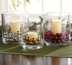 Christmas table decor - a little simpler, but easy to pull off and is a clean look: