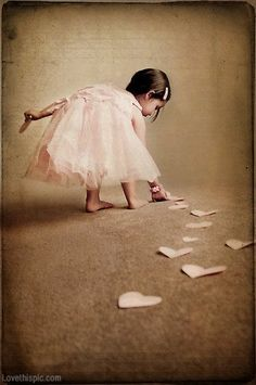 #Beautiful photography# Little girl with paper hearts love cute girl pink hearts kids