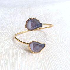 Geode Jewelry Gift Crystal Geode Cuff Bracelet Druzy Geode Boho Gift Christmas Jewelry Gift Fall Wom