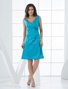 Belle robe de demoiselle d'honneur bleu de ligne-A au col V et faite en taffetas - Milanoo.com