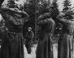 German prisoners taken during the Battle of the Bulge, circa late december 1944.