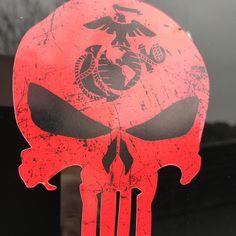 USMC Marines Punisher Sticker   www.LStarSigns.com #lonestarsigns #lonestsrarmy #punisher #usmc #marines #usmarine #usmarines #military #usmilitary #vet #veterans #marineveteran #usveterans #semperfi #semperfidelis #thepunisher #marinepunisher #sticker #marinecorps #sfmf