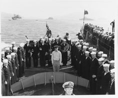 """""""USS DD-224 (ex-USS Stewart, DD-224) crew members and a Navy band on the ship's foredeck during recommissioning ceremonies, while she was moored in Hiro Wan, Japan on 29 October 1945. The ship had served during World War II as the Japanese Navy's..."""