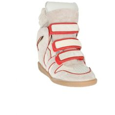 Isabel Marant Beige Suede And Red Leather Wila Sneakers ($565) ❤ liked on Polyvore