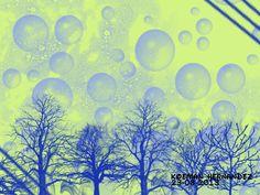 """""""Burbujas en los pinos"""". En esta imagen se utilizaron los pinceles Bubbles; Pencil Sketch; Dill. Medidas 1024x768 pixeles. Orientación Horizontal."""