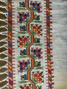 This Pin was discovered by Reh Folk Embroidery, Vintage Embroidery, Cross Stitch Embroidery, Embroidery Patterns, Cross Stitch Bookmarks, Cross Stitch Borders, Cross Stitch Patterns, Palestinian Embroidery, Bargello