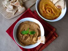 Muhammara (Spicy Roasted Red Pepper Walnut Dip/Spread) and Roasted Red Pepper Hummus.