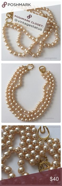 "Vintage Signed KJL Cream Pearl Beads Gold Necklace Beautiful vintage signed KJL for Kenneth Jay Lane glass simulated faux pearl 3 strand necklace with gold plated simple clasp. Measures approx 17"" long. Some minor chipping to some of the beads as shown. More pics upon request. Feel free to ask questions! Kenneth Jay Lane Jewelry Necklaces"