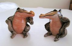 Contented Vintage ALLIGATORS Ceramic Salt by TextilesandOldThings, $24.00