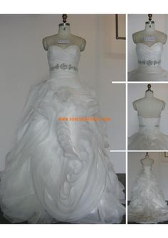 Robe de mariée originale en organza avec bustier perles