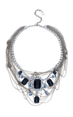 Tom Binns Fettered Faux Large Sapphire Necklace With Tangled Chains