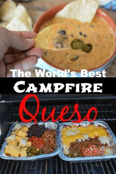 Whip up this campfire queso dip for all your campfire cravings. Loads of meat, mix of cheeses, and more all in one incredibly cheesy queso dip. Camping Menu, Camping Hacks, Camping Essentials, Camping Foods, Camping Ideas, Camping Cooking, Fancy Camping Food, Camp Fire Cooking, Campfire Cooking Recipes
