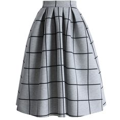 Chicwish Grid Print Pleated Midi Skirt (€38) ❤ liked on Polyvore featuring skirts, bottoms, jupes, grey, grey pleated skirt, mid calf skirts, grey skirt, calf length skirts and gray skirt