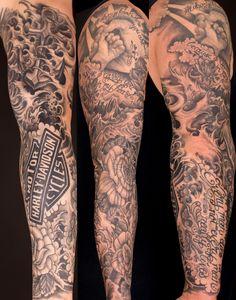 Tattoosleeve Harleydavidson Hotrodtattooing Sweetchuck Sleeve Fullsleeve Blackandgraytattoo Tattoos Pinterest Piercing