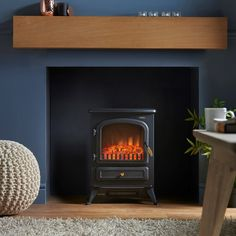 VonHaus Electric Stove Heater with Log Burner Flame Effect – Black – Freestanding Fireplace with Wood Burning LED Light Fireplace Redo, Cosy Living Room, Faux Fireplace, Stove Heater, Wood Burner Fireplace, Log Burner Living Room, Interior Design, Fireplace Inserts, Fireplace