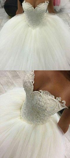 Gorgeous Pearls Ball Gown Wedding Dresses 2017 Sexy Sweetheart Sleeveless Lace A. - Gorgeous Pearls Ball Gown Wedding Dresses 2017 Sexy Sweetheart Sleeveless Lace Applique Beads Tulle Bridal Gowns Princess Source by - Sweetheart Wedding Dress, Princess Wedding Dresses, Dream Wedding Dresses, Wedding Gowns, 2017 Wedding, Tulle Wedding, Diy Wedding, Trendy Wedding, Modest Wedding