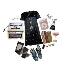 """in the dark"" by idaelinas on Polyvore featuring Glamorous, Dr. Martens, NARS Cosmetics, Schott Zwiesel, Spartina 449, Hermès, vintage, Dark, ootd and edgy"
