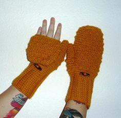 Convertible crochet fingerless glove mittens in Mustard Yellow