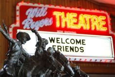The Will Rogers Memorial Museum off Route 66 in Claremore, Oklahoma also has a theater that plays its namesake's movies every day.