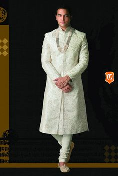 The Manyavar Royal Silk Sherwani for Men :- This silk weaved fabric with emroidered work is your wear on your day. Studded with sequins, and thread work this sherwani is a class apart. #Wedding #Sherwani #Manyavar #Ethnic Wear #Manyavar Wedding Wear #Indian Wedding Wear #Wedding Collection #Manyavar Sherwani
