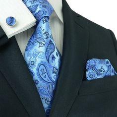 Landisun 36A Bright Blue Paisleys Mens Silk Tie Set: Tie+Hanky+Cufflinks for $29.99
