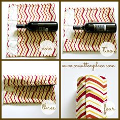 DIY Wine Bottle Gift Wrap with a towel or piece of fabric.