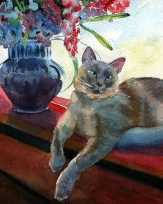 Lilac Siamese cat Art Applehead Print of my by rachelsstudio