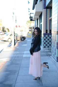 flowing maxi + leather jacket