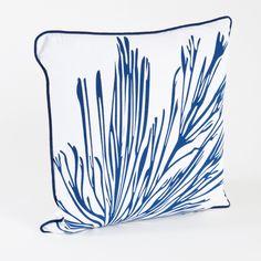 Coral Branch Cotton Throw Pillow