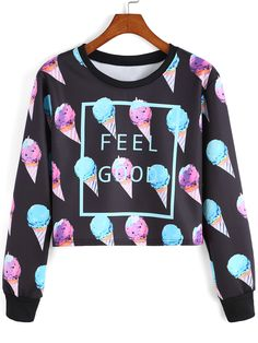 Multicolor Round Neck Ice Cream Patterned Print Crop Sweatshirt , 35% Off for 1st Sign Up