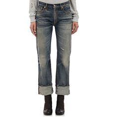 R13 Marlon Jeans ($419) ❤ liked on Polyvore featuring jeans, blue, ripped blue jeans, destructed jeans, distressing jeans, zipper jeans and embroidered jeans