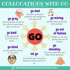 Collocations with GO. English exxpressions with GO with meanings and examples. Intermediate level English lessons. www.englishlessonviaskype.com #learnenglish #englishlessons #ingles #aprenderingles #vocabulary #ingles #английский #學習英語 #영어회화 #ingilizce #ielts #toefl