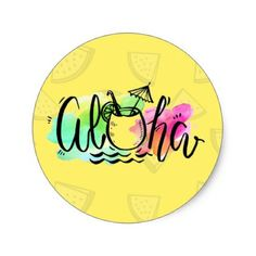 Aloha Sticker - Hawaii Sticker - Tropical - craft supplies diy custom design supply special