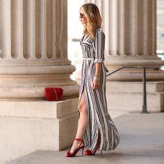Fashion Women Black And White Long Maxi Striped Shirt Dress Ladies Sexy Elegant Design Long Sleeve Evening Party Split Dresses
