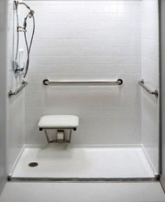 Roll-in fiberglass shower (fiberglass has no grout and is naturally mildew resistant, making it way easier to clean). Bath Fitter custom makes tub-to-shower conversions in the neighborhood of $5,000-7,000 that include hand-held shower, fold-down seat and three grab bars.
