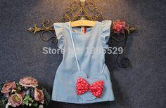 2 шт. / 2 7 т / лето младенческой костюм для девочек младенцев одежды дети комплект одежды милой принцессы малыша платье + сумка детей платья BC1139 купить на AliExpress