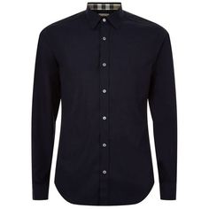 Burberry Brit Stretch Cotton Poplin Shirt ($240) ❤ liked on Polyvore featuring men's fashion, men's clothing, men's shirts and men's casual shirts