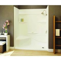 Aquatic Remodeline 30 In. X 60 In. X 76 In. Right Drain Left Seat Gelcoat  Shower Stall In White
