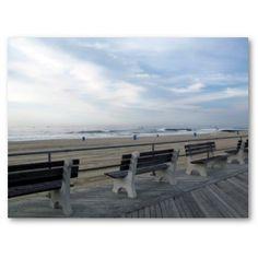 Asbury Park, NJ Boardwalk - Benches and beach