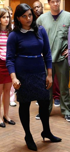Mindy's blue sweater with peter pan collar, blue floral skirt and navy polka dot tights on The Mindy Project